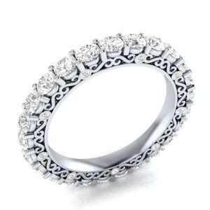 925 Sterling Silver Pave Filigree Anniversary Ring